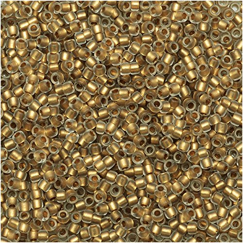Round Lined Bead - Toho Round Seed Beads 15/0#989F - Frosted Gold-Lined Crystal (8 Grams)