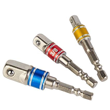 Wazaza 3 UNIDADES. Conjunto de adaptador de puntas / extensión de impacto. Convierte un taladro eléctrico en un destornillador de alta velocidad. ...