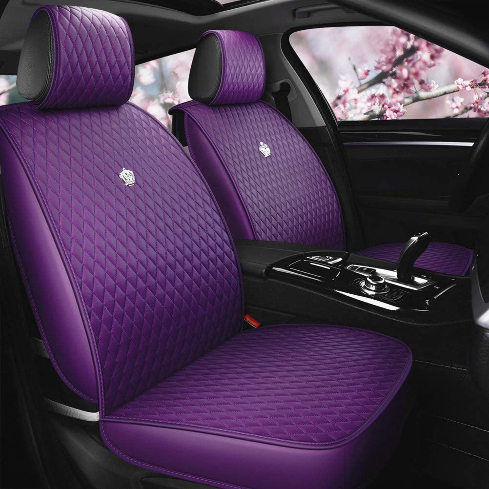 Amazon Com Purple Car Seat Cover Full Set Leather Auto Seat Covers 9pcs Front Rear Seat Covers With Airbag Compatible Universal Fit Most Car Truck Suv B Purple Automotive