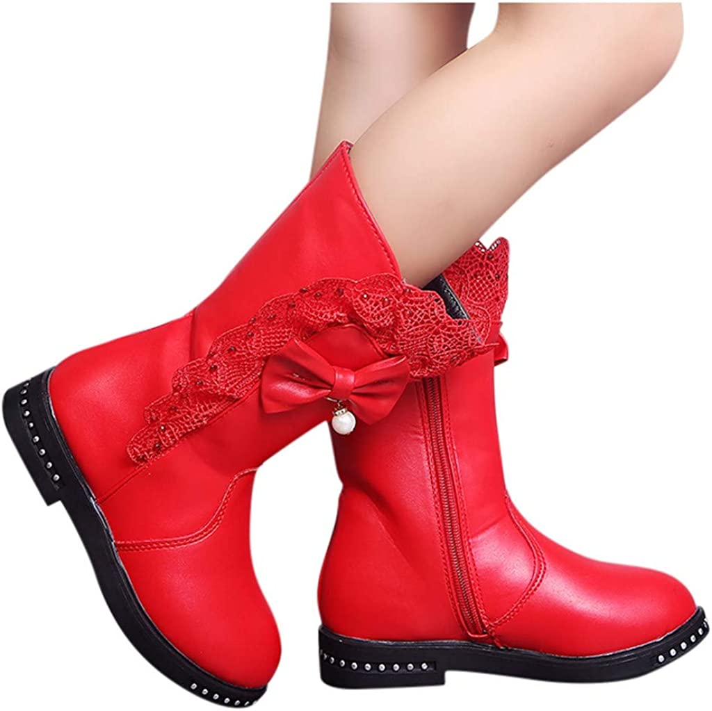 CQO Boots for Girls Heels Children Infant Winter Warm Bowknot Lace Snow High Boots Shoes