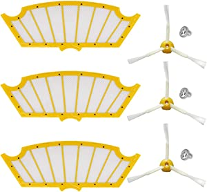 HIFROM Replace Roomba Filter 3-Side Brush with Screw Replacement for iRobot Roomba 500 Series 560 510 530 535 540 580 610 Vacuum Cleaner Accessory High Qualtiy Replacement Parts (3 Set)