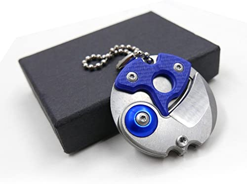Cool Hand Creative Coin-Shape Mini EDC Pocket Keychain Knife with Hanging Chain, Metal Gadget