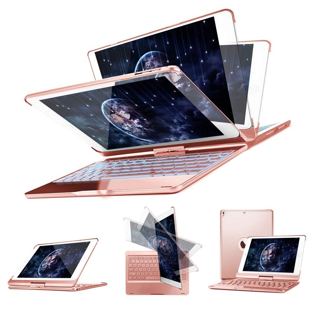 iPad Keyboard Case for 2018 iPad (6th Gen) -2017 iPad (5th Gen)- iPad Pro 9.7- iPad Air 2- Air 1,360 Rotatable -Auto Sleep Wake- Wireless Bluetooth-7 Color Backlit- iPad Case with Keyboard (Rose Gold)