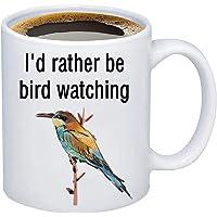 bobauna I'd Rather Be Bird Watching Coffee Mug Ornithology Gift For Ornithologist Bird Watcher (bird watching mug)
