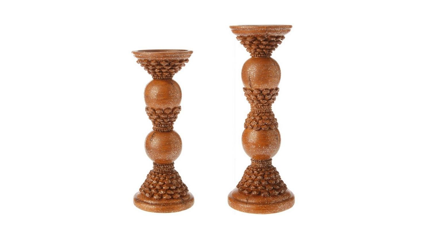 Set of 2 Country Rustic Brown Pine Cone Pillar Candle Holders 12''