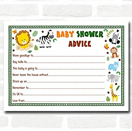Jungle Baby Shower Games Advice To Parents Cards