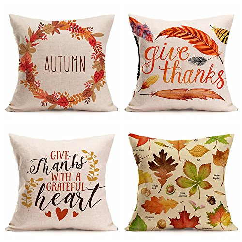 """Price comparison product image Happy Thanksgiving Day Pillow Covers 4 Pack,Pumpkin Spice Maple Leaf Throw Cotton Line Pillow Case Celebrate Harvest Cushion Cover 18""""X 18""""Autumn Fall Home Decor (Happy Thanksgiving Design 1)"""
