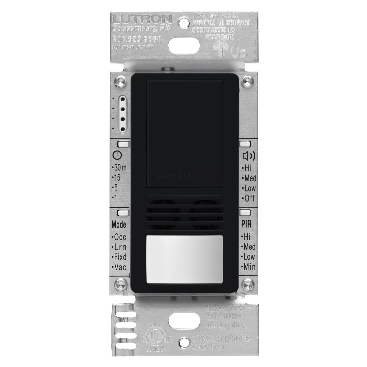 Lutron MS-A102-BL Maestro Dual Tech Occupancy Sensor Switch, no neutral required, 6 Amp Single-Pole, Black