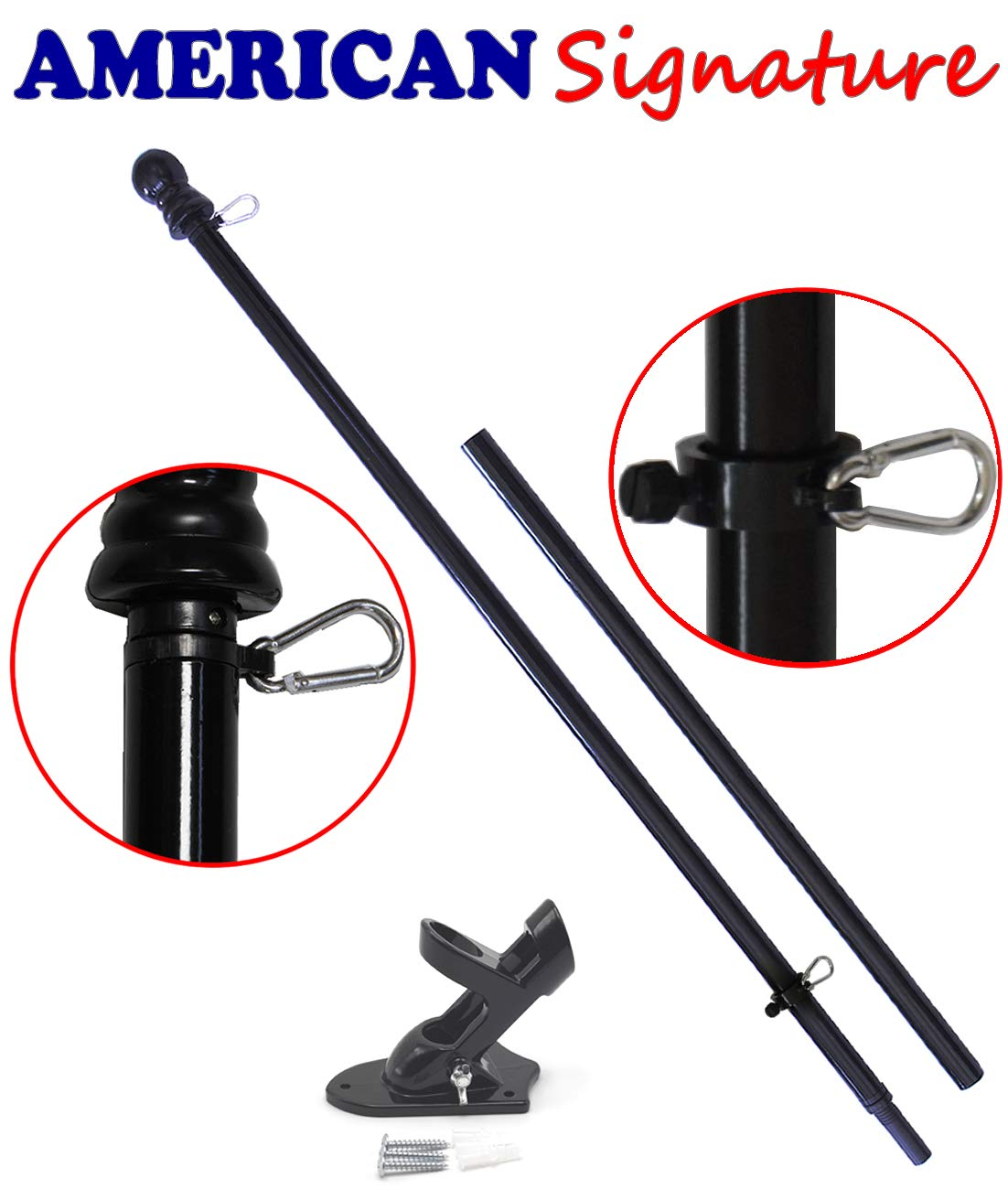 American Signature Flag Pole and Bracket Holder Kit: Includes 2019 New Enhanced Design Aluminum Tangle Free Spinning Flagpole with Carabiners and Outdoor Wall Mount Bracket (Black, 5')
