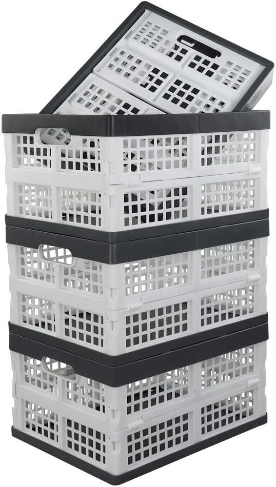 Yarebest Pl/áStico Caja Plegable Paquete De 3 Cesta Plegable Plastico Negro