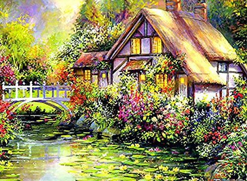 Wowdecor Paint by Numbers Kits for Adults Kids, DIY Number Painting - Thomas Landscape Quiet Cabin Lake Flowers Scenery 40 x 50 cm - New Stamped Canvas (No (Thomas Victorian Tapestry)