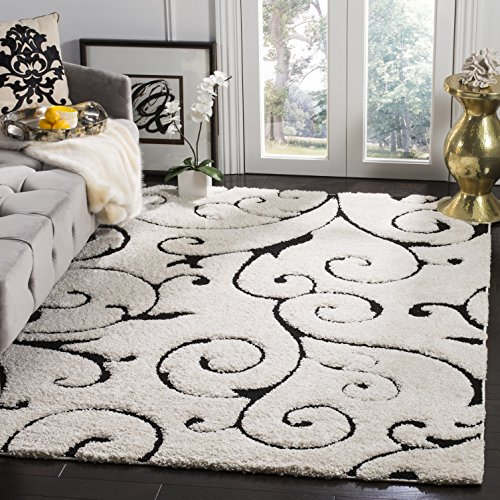 Safavieh Florida Shag Collection SG455-1290 Scrolling Vine Ivory and Black Graceful Swirl Area Rug (5'3