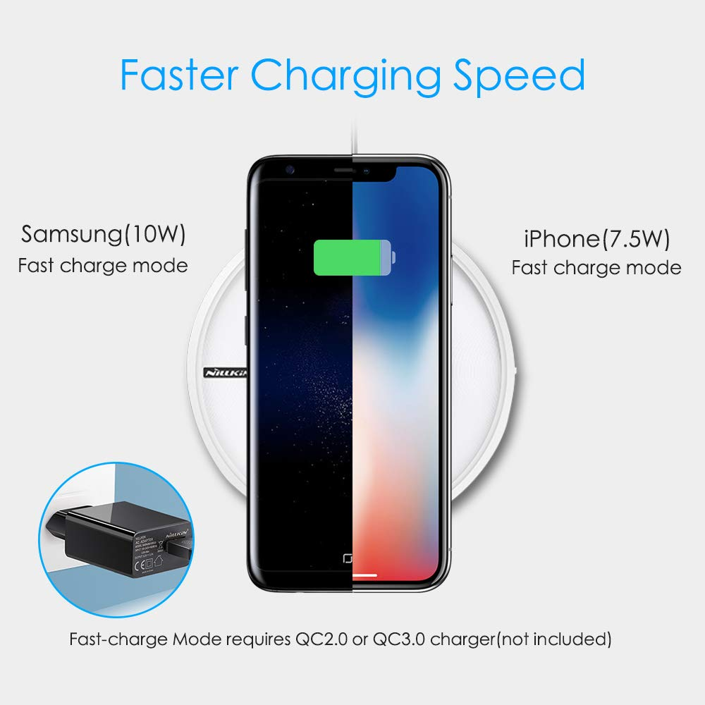 10W Fast Charge Samsung Galaxy S10//S10+//S9//S9+//Note 9//S8//S8+//Note 8//S7 Edge and More Colorful Night Light Nillkin Qi-Certified Charging Pad for iPhone X//XS//XS Max//XR//8//8 Plus Wireless Charger
