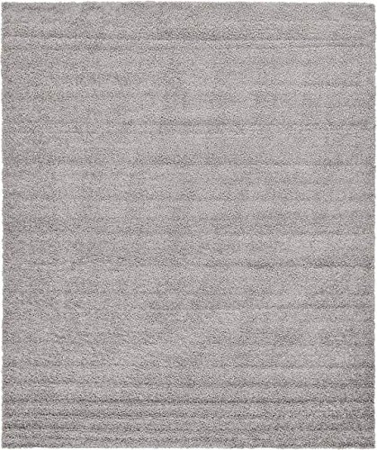 Unique Loom Solid Shag Collection Cloud Gray 12 x 15 Area Rug (12' x 15') - 12x15 Area Rug