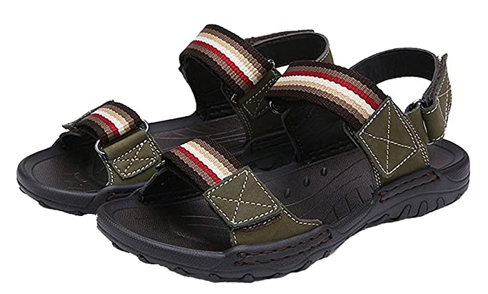 Men's Stripes 2-Strap Outdoor Beach Sandals Hook-and-Loop Casual Water Shoes