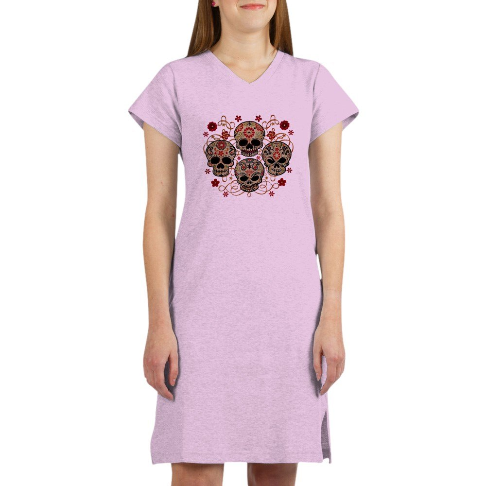 Royal Lion Women's Nightshirt (Pajamas) Flower Skulls Goth WNHTSFLWRSKSGTH-2018OCT