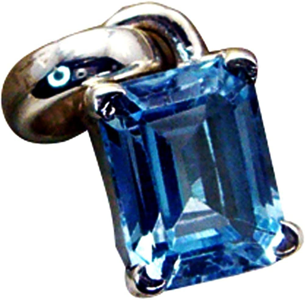 Jewelryonclick Pure Blue Topaz 925 Silver Pendant Gift for Women Charm Prong Cut Style Necklace Handmade