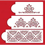 WADY 3 Pieces Cake Side Stencil Fondant Decorating Tool Embossed DIY Cookie Mold Kitchen Bareware Accessories