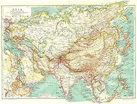 Map Of Asia Middle East.Asia Asia Middle East Political Colonial 1910 Old Antique