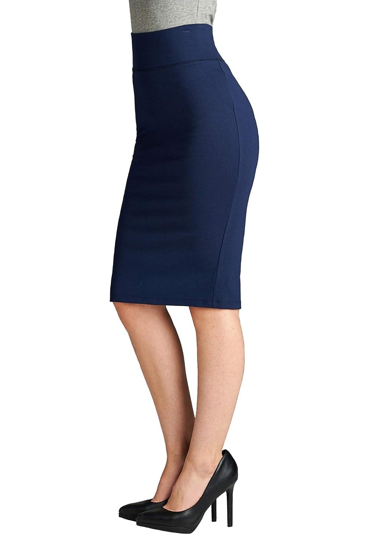 Dark Navy Vialumi Women's Solid High Waist Ponte Pencil Skirt
