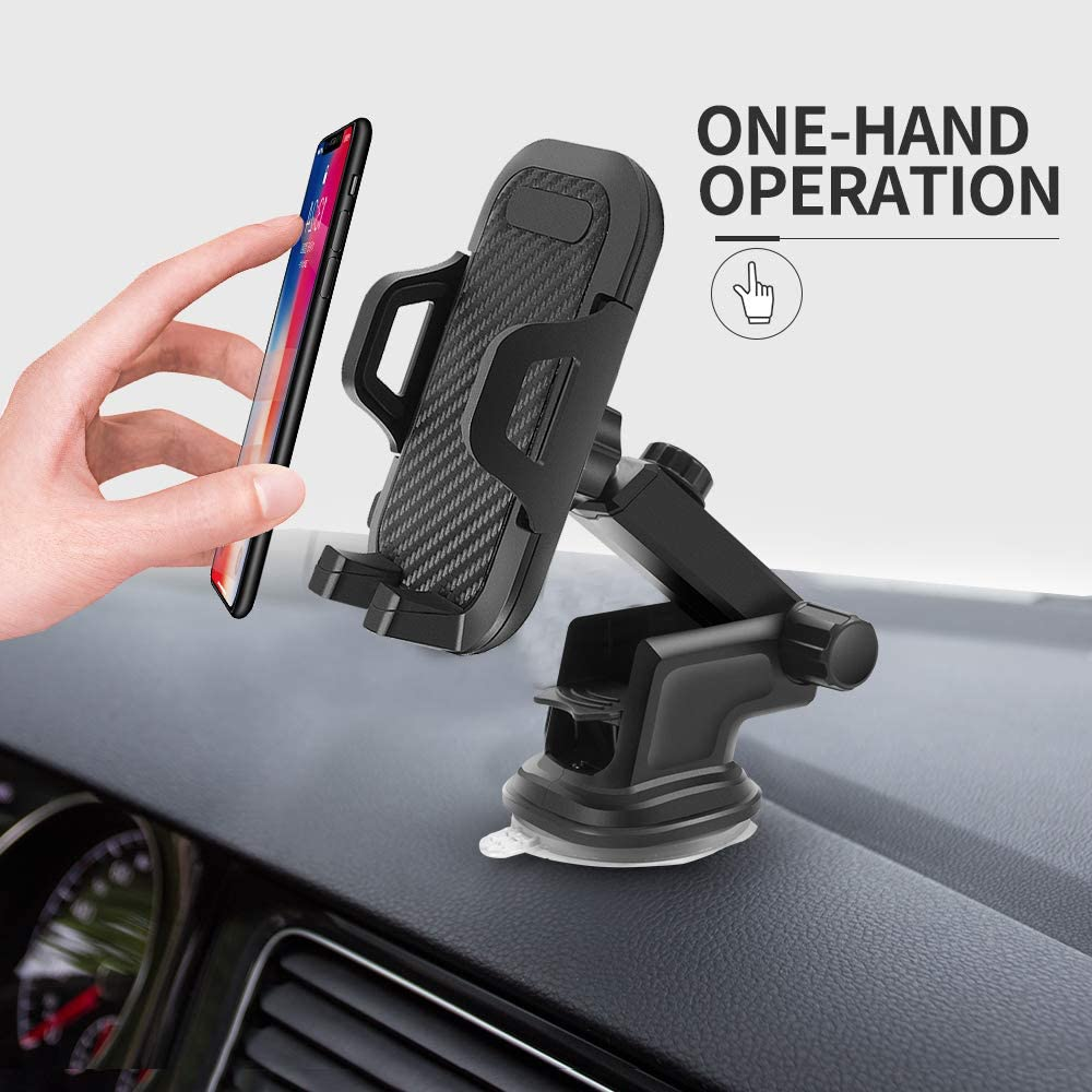 SHEGUI Car Phone Mount Dashboard Car Phone Holder Washable Strong Sticky Gel Pad with One-Touch Design Compatible iPhone XS XS Max XR X 8 8 Plus 7 7 Plus SE 6s 6 Plus 6 5s 4 Samsung Galaxy S10 S9 S8
