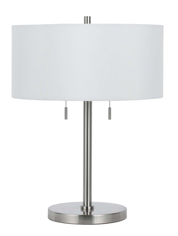 Cal Lighting BO-2450TB-BS Calais Metal Table Lamp, 60-watt x 2, Brushed Steel