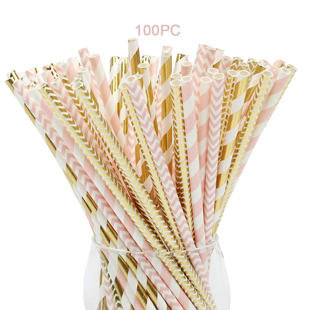 Paper Straws,100 Pack,Biodegradable Paper Drinking Straws, Pink & Gold Straws for Parties,Birthday,Baby Shower,Marriage,Engagement,Table Decoration,Carnivals and Crafts