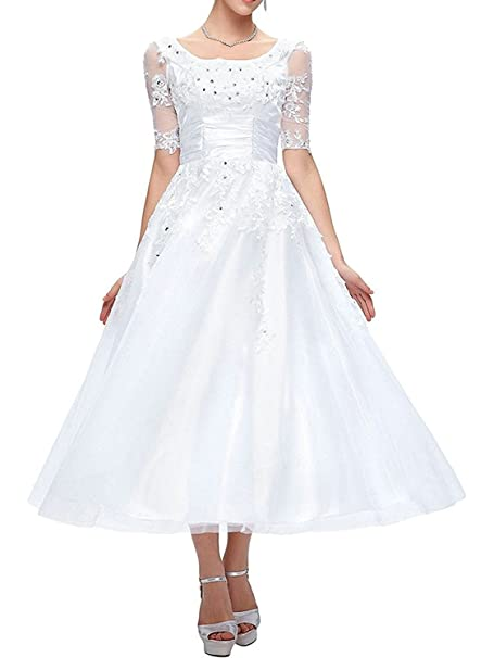 JAEDEN Princesa A-Line Vestido de Novia Pantorrillas largas Tul Manga Corta Vestido de Boda