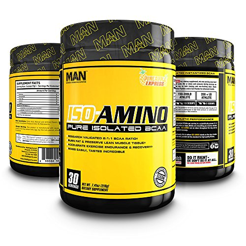 MAN Sports ISO-AMINO BCAA Amino Acid Powder, Pineapple Express, 30 Servings, 210 Grams