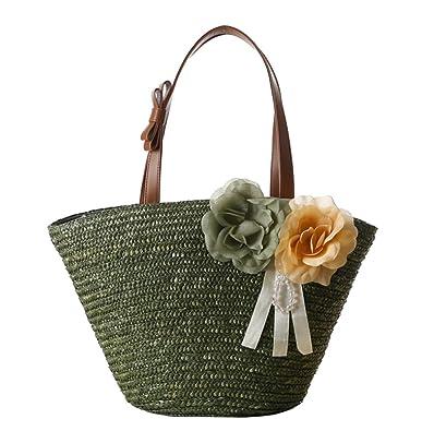 Amazon.com: Tonwhar Paja trenzada Bolsa de hombro Flores ...