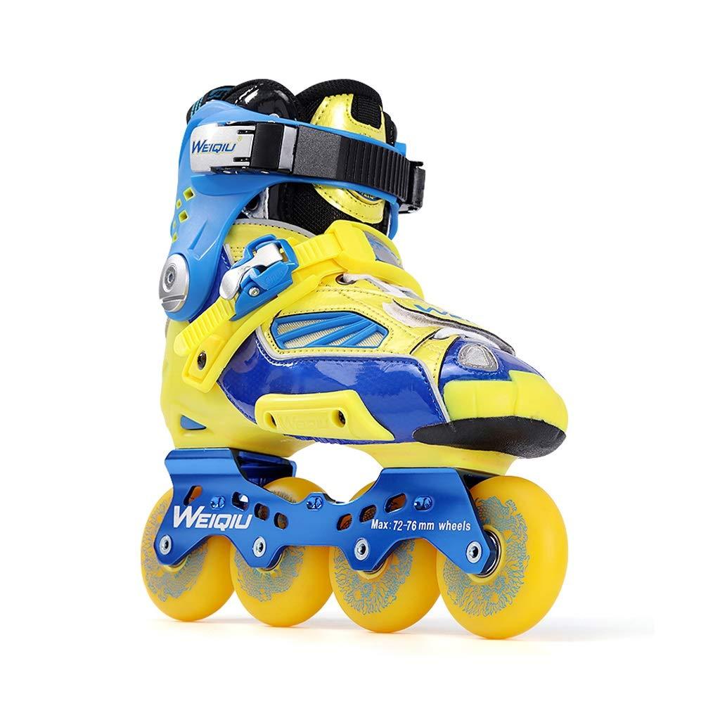 Ailj 青黄色の女の子屋外インラインスケート、 成人ファッション性格初心者ローラーブレード (Color : 青, Size : EU 38) 青 EU 38