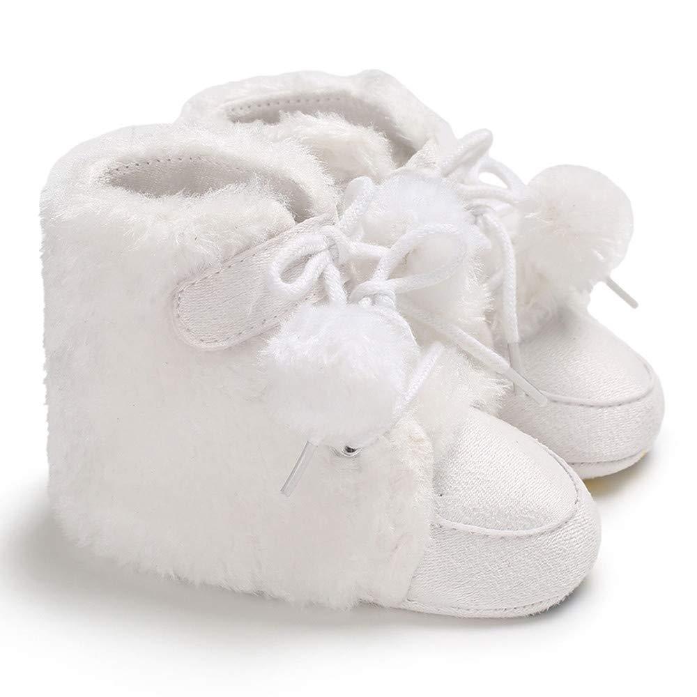 YanHoo Zapatos para niños Botas de Peluche de Color Bebe con Botines de Color Liso Baby Girl Boy Botines Suaves Pelota de Pelo Vendaje Botas para la Nieve ...