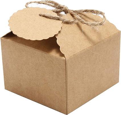 Cajas para Dulces Regalos Jabón Cajitas de Boda Bombones Caramelos Recuerdos (Cuadrado Marrón): Amazon.es: Oficina y papelería