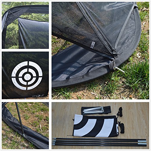 77tech Golf Practice Hitting Net Cage Automatic Ball Return System Tri-ball Golf Driving Chipping Net Training Aid with Target sheet and Two Side Barrier by Golf Net (Image #5)