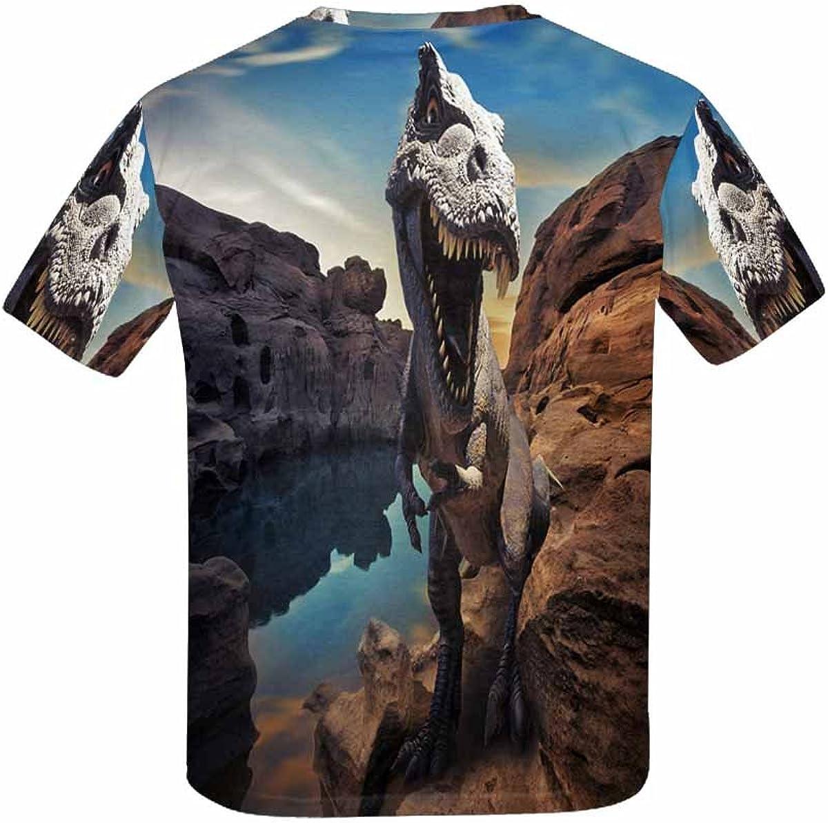 XS-XL INTERESTPRINT Dinosaurs on Mountain Rock Unisex Kids T-Shirts