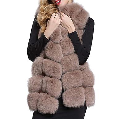b3700c02f19d7 Meedot Damen Kunstpelz Weste Ärmellose Jacke Winterjacke Fellweste Mantel  Oberteile Outwear Warm Pelzweste Pelzjacke Pelzmantel S - 4XL  Amazon.de   ...