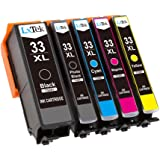 LxTek Compatible Ink Cartridges Epson 33 XL (1 Black, 1 Photo Black, 1 Cyan, 1 Magenta, 1 Yellow) for Epson Expression Premium XP-530 XP-540 XP-630 XP-635 XP-640 XP-645 XP-830 XP-900 Printer