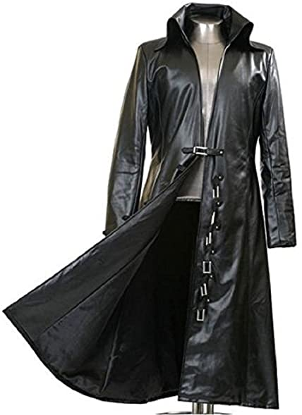 Gothic_Master Black Faux Leather Long Trench Coat at Amazon Men's ...