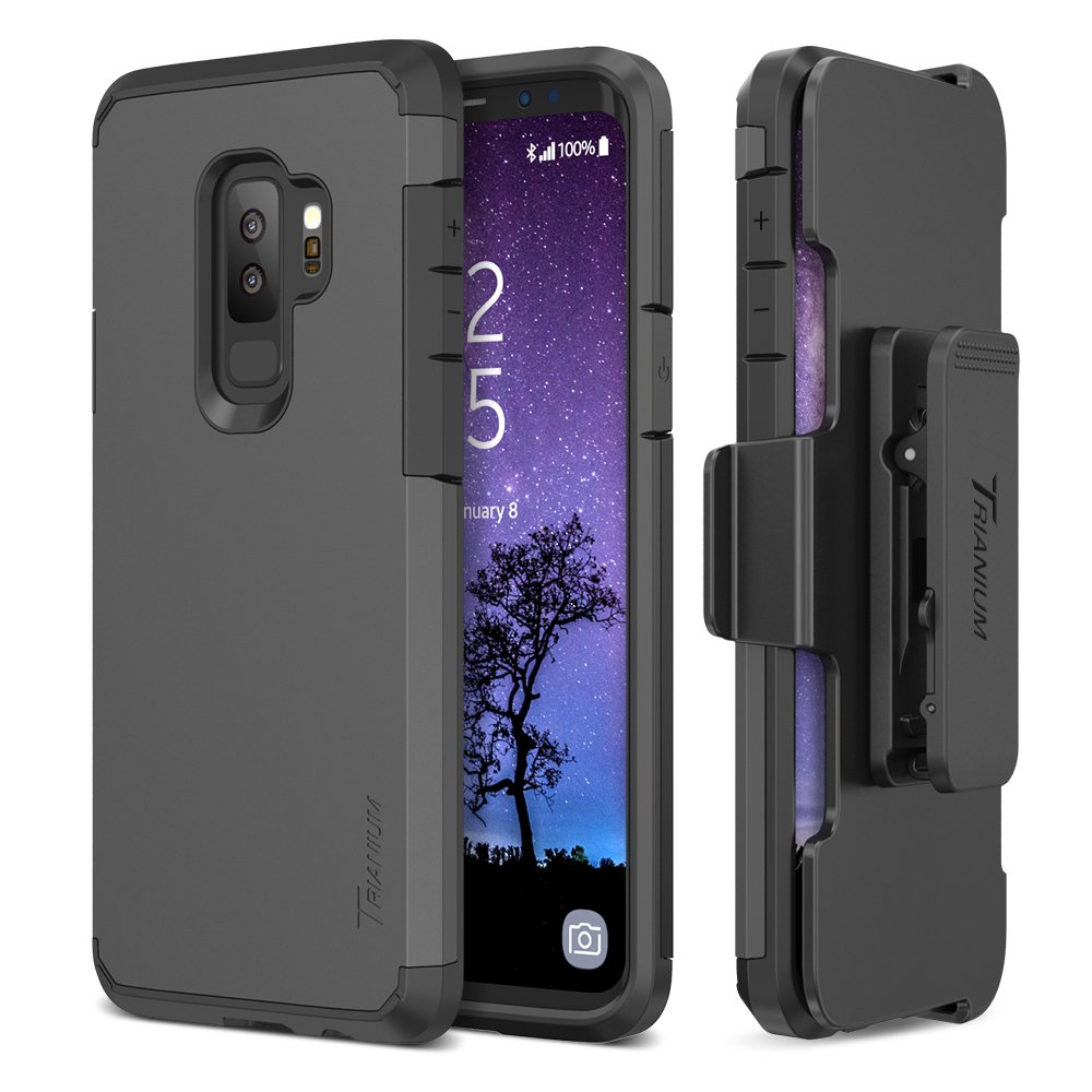 Trianium Duranium Galaxy S9 Plus Holster Case w/ Rotating Belt Clip + Kickstand [Heavy Duty Protection] Premium Scratch Resistant / Shock Absorption Cushion for Samsung Galaxy S9 Plus(2018)- Gunmetal