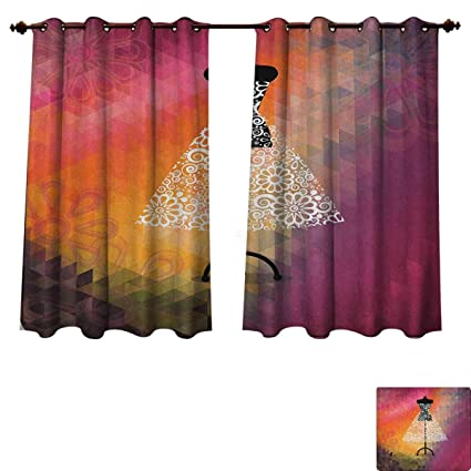 bridal shower blackout thermal backed curtains for living room abstract geometric blurry backdrop floral print design