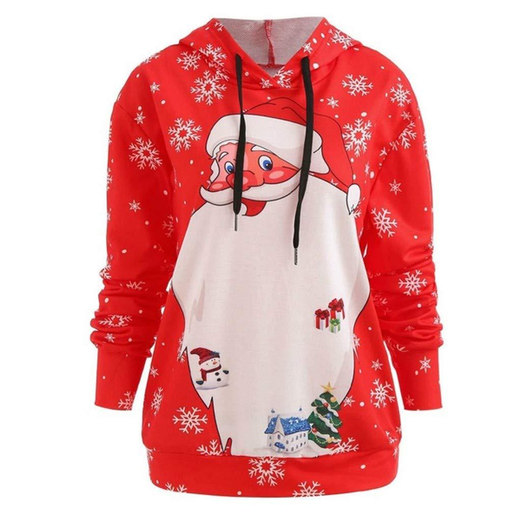 BIKETAFUWY Women Long Sleeve Santa Claus Print Christmas Hoodie Lady Loose Hooded Sweater Fall Winter Top