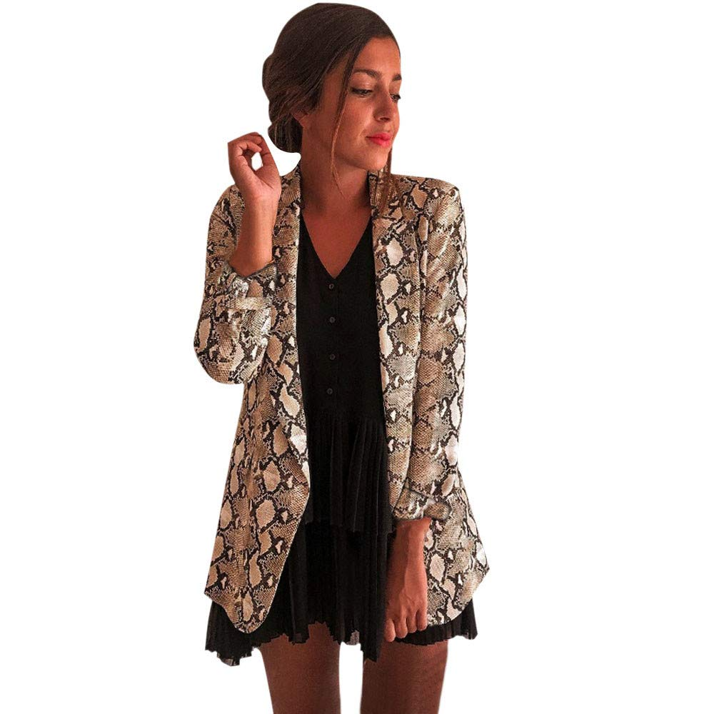 2018 New WUAI Womens Suit Jacket Casual Snake Print Blazer Biker Coat Fashion Slim Tops Cardigan Outwear(Khaki,Large)