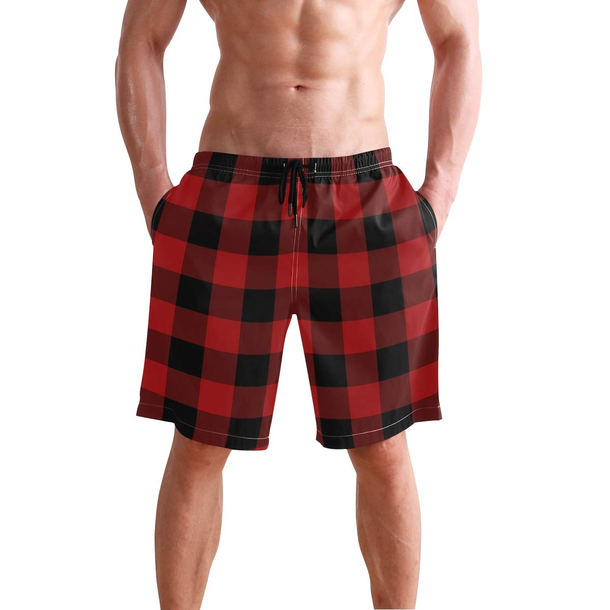 Beach Shorts for Men Boys S Swim Trunk with Buffalo Plaid Print