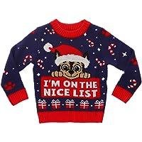 """Paw Patrol Chase Suéter con texto en inglés """"I'm On The Nice List"""", feo de Navidad para niños pequeños"""