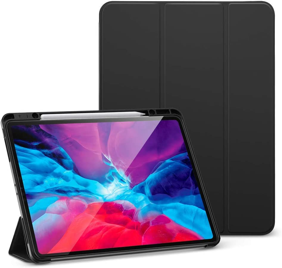 ESR Rebound Pencil iPad Case with Soft Flexible TPU Back Cover (Black) + (2-Pack) Glass Screen Protector for iPad Pro 12.9 2020 & 2018