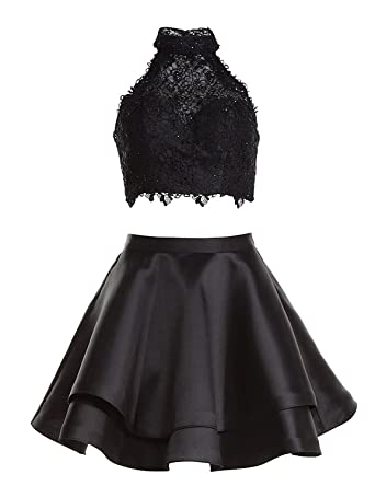 Momabridal Short 2 Piece Prom Dresses Lace Halter Homecoming Party Dresses Layered Black Size 2