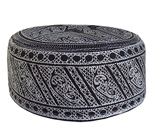 (Kufi Muslim Men's Koofi Hand Embroidered Islamic Prayer Cap Pakistani Topi Hat (Black - White))