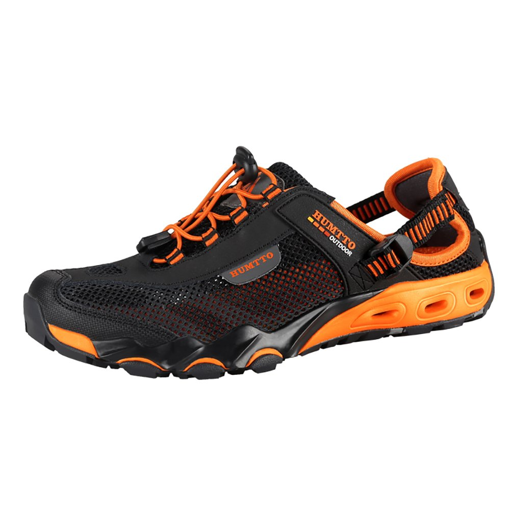 Mens Water Shoes Hiking Aqua Shoes Quick Dry Breathable Wading Trekking Sneakers (9.5, 1605 Black) by HUMTTO