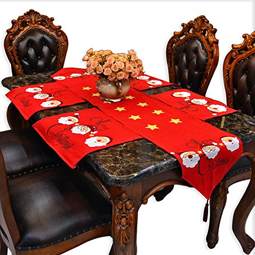 Vanity Cloth Coffee Table Runners Jacquard Burlap Rustic Style Cotton Cloth Table Mats with 4 PCS Placemats for Hall Table Wood Dining Table End Table Side Table Pub Bar Kitchen Decorative Red Santa - Console Style Vanity