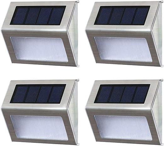 Uonlytech 4PCS Luz de pared solar LED Escalera solar Luz de paso de acero inoxidable Luces al aire libre (luz cálida): Amazon.es: Iluminación